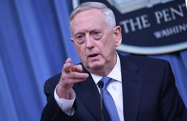 Secretary of Defense James Mattis takes questions during a briefing at the Pentagon, April 11, 2017. (Photo: Mandel Ngan/AFP/Getty Images)