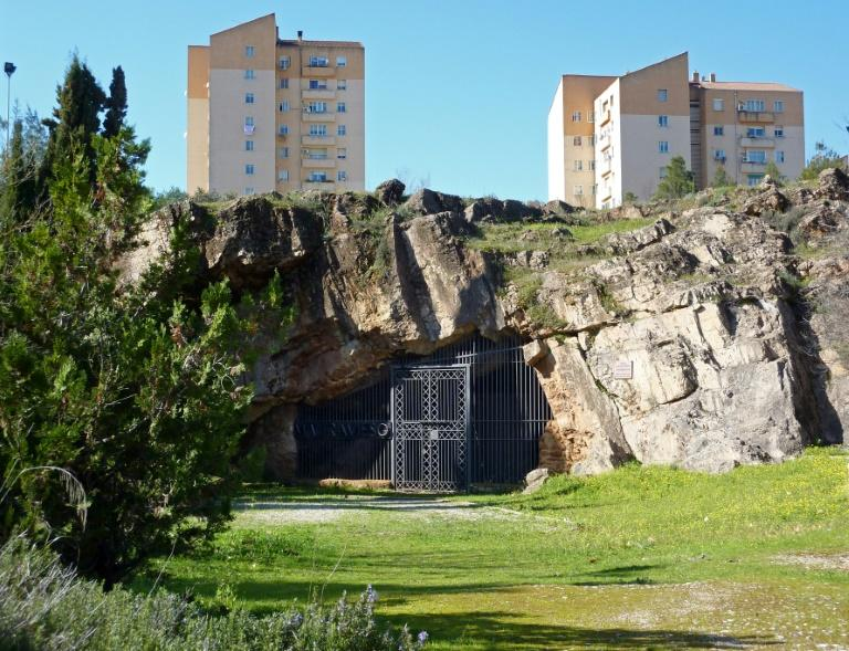 The entrance to the Maltravieso Cave on the outskirts of Caceres in western Spain