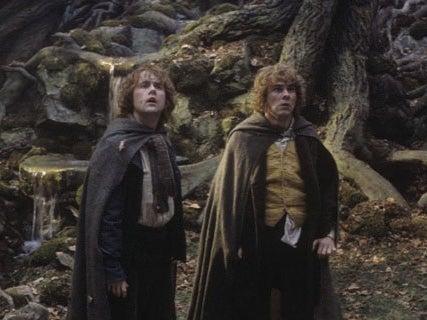 Dominic Monaghan and Billy Boyd in 'The Lord of the Rings: The Two Towers' (Warner Bros)
