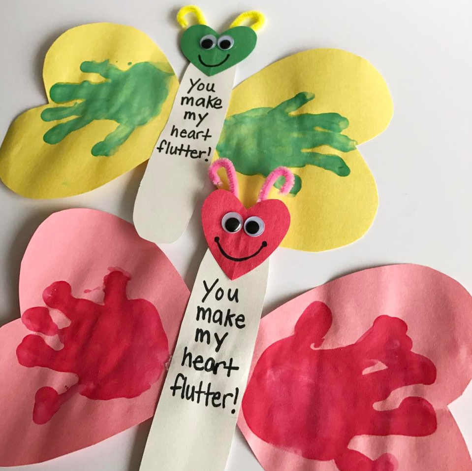 """<p>Construction paper hearts form the butterfly's wings and head in this Valentine craft right for preschoolers. Paint their little hands and press the prints onto the construction paper wings. Don't forget to finish it off with googly eyes and pipe cleaner antennas!</p><em><a href=""""https://teachingmama.org/make-heart-flutter-valentine-craft/"""" rel=""""nofollow noopener"""" target=""""_blank"""" data-ylk=""""slk:Get the tutorial at Teaching Mama »"""" class=""""link rapid-noclick-resp"""">Get the tutorial at Teaching Mama »</a></em>"""