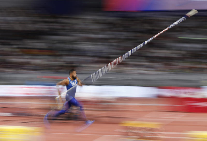Devon Williams, of the United States, competes in the the men's decathlon pole vault at the World Athletics Championships in Doha, Qatar, Thursday, Oct. 3, 2019. (AP Photo/Hassan Ammar)