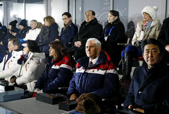 <p>Vice President Mike Pence, second from bottom right, sits between second lady Karen Pence, third from from bottom left, and Japanese Prime Minister Shinzo Abe at the opening ceremony of the 2018 Winter Olympics in Pyeongchang, South Korea, Friday, Feb. 9, 2018. Seated behind Pence are Kim Yong Nam, third from top right, president of the Presidium of North Korean Parliament, and Kim Yo Jong, second from top right, sister of North Korean leader Kim Jong Un. (AP Photo/Patrick Semansky, Pool) </p>