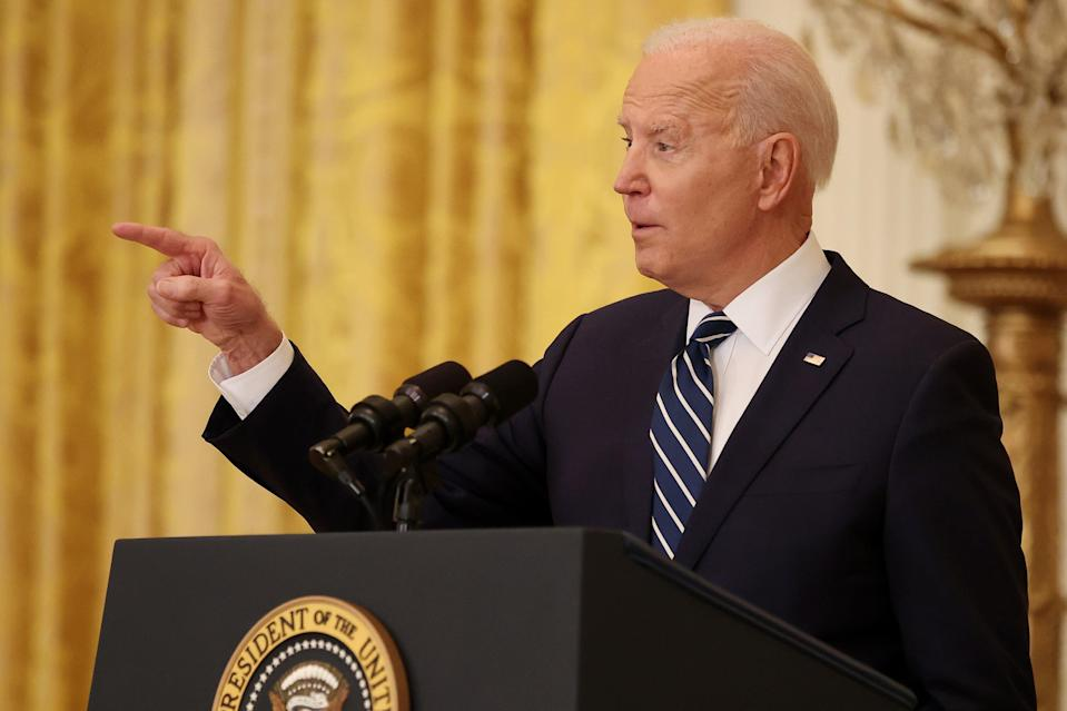 Joe Biden stared down Republicans on restrictive voting bills at his first presidential press conference on Thursday. (Getty Images)