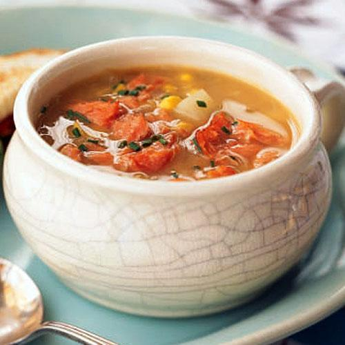 """<p>The fish, used in place of the bacon often found in traditional chowder recipes, adds heart-healthy fats and protein. Great made ahead, this soup gets better with time.</p> <p> <a rel=""""nofollow noopener"""" href=""""http://www.myrecipes.com/recipe/sweet-corn-chowder-with-hot-smoked-salmon"""" target=""""_blank"""" data-ylk=""""slk:View Recipe: Sweet Corn Chowder with Hot-Smoked Salmon"""" class=""""link rapid-noclick-resp"""">View Recipe: Sweet Corn Chowder with Hot-Smoked Salmon</a></p>"""