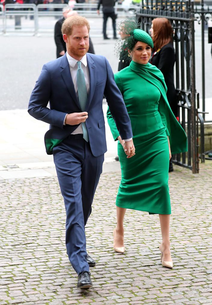 Prince Harry and Duchess Meghan of Sussex arrive at Westminster Abbey on March 9, 2020, for the annual Commonwealth Day service.