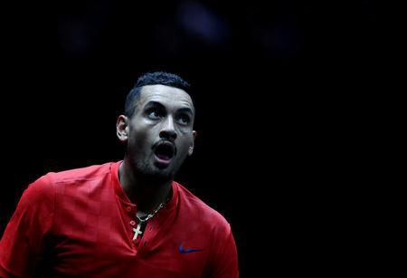 FILE PHOTO - Tennis - Laver Cup - 3rd Day - Prague, Czech Republic - September 24, 2017 - Nick Kyrgios of team World reacts during the match. REUTERS/David W Cerny