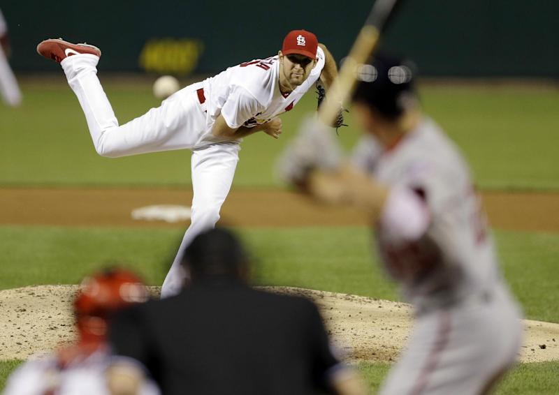 St. Louis Cardinals starting pitcher Michael Wacha throws during the fifth inning of a baseball game against the Washington Nationals on Tuesday, Sept. 24, 2013, in St. Louis. (AP Photo/Jeff Roberson)