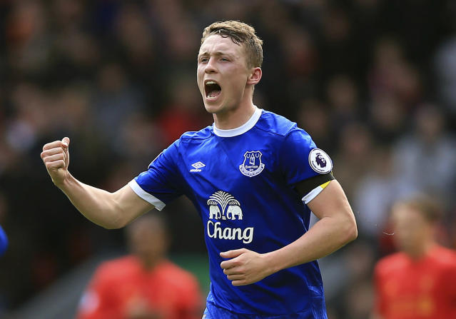 <p>Everton's Matthew Pennington celebrates scoring his side's first goal, during the English Premier League soccer match between Liverpool and Everton, at Anfield, in Liverpool, England, Saturday April 1, 2017. (Peter Byrne/PA via AP) </p>