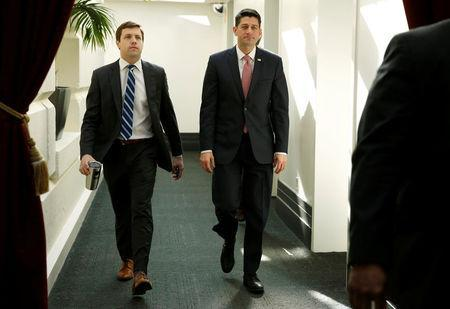 Speaker of the House Paul Ryan (R-WI) walks form a House Republican caucus meeting after President Donald Trump and the U.S. Congress failed to reach a deal on funding for federal agencies on Capitol Hill in Washington, U.S., January 20, 2018. REUTERS/Joshua Roberts