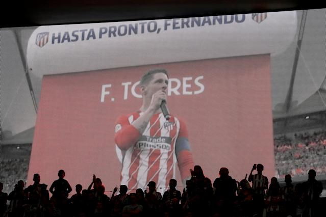 Soccer Football - La Liga Santander - Atletico Madrid vs Eibar - Wanda Metropolitano, Madrid, Spain - May 20, 2018 Atletico Madrid's Fernando Torres is shown on the big screen after the match REUTERS/Juan Medina