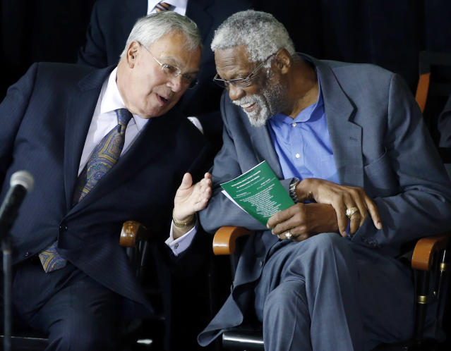Former Boston Celtics basketball star Bill Russell, right, chats with Boston Mayor Thomas Menino during a ceremony honoring Russell after his statue was unveiled at City Hall Plaza in Boston, Friday, Nov. 1, 2013. (AP Photo/Elise Amendola)