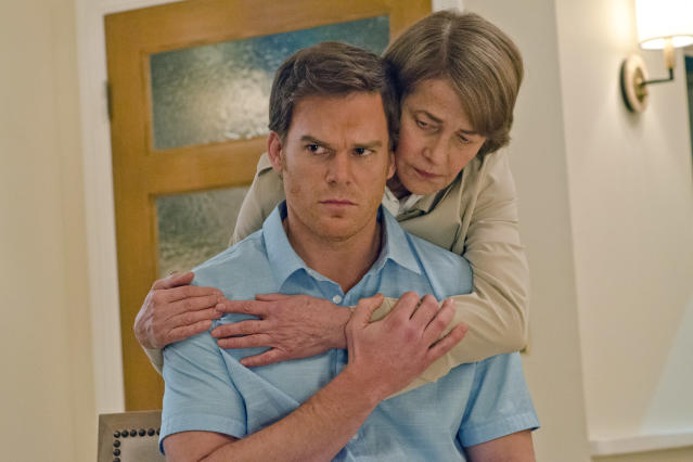 """Michael C. Hall as Dexter Morgan and Charlotte Rampling as Dr. Vogel in the """"Dexter"""" Season 8 episode, """"Every Silver Lining."""""""