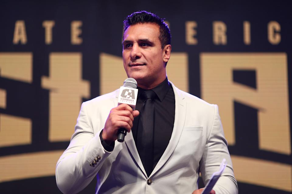 LOS ANGELES, CALIFORNIA - APRIL 04: Alberto Del Rio speaks onstage during Kate del Castillo's announcement of her landmark deal with global MMA brand Combate Americas at LA River Studios on April 04, 2019 in Los Angeles, California. (Photo by Joe Scarnici/Getty Images for Combate Americas)