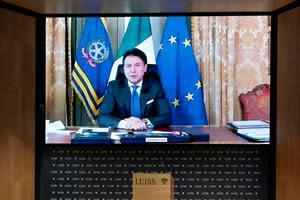 Italian Prime Minister Giuseppe Conte connected from Palazzo Chigi to address LUISS students during the inauguration event for the 2020-2021 academic year. Over 400'000 people viewed the event through social networks.
