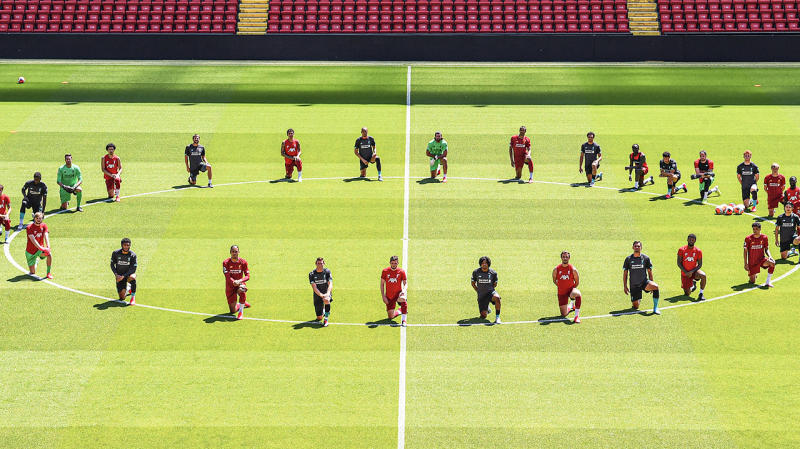 Liverpool players at training paid tribute to the Black Lives Matter movement occurring in the US after the death of George Floyd. (Getty Images)