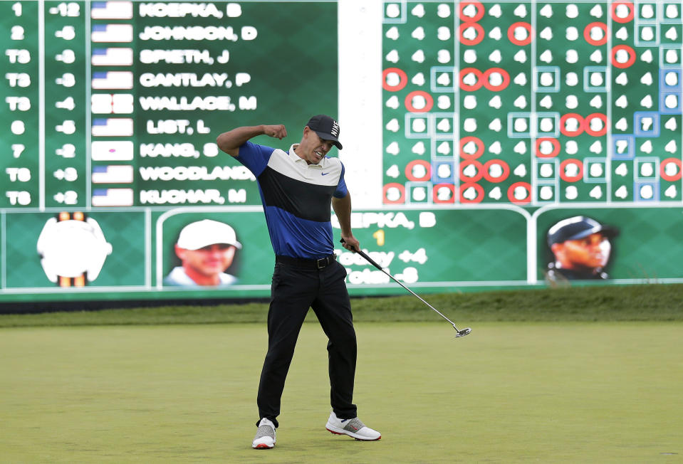 FILE - In this May 19, 2019, file photo, Brooks Koepka reacts after winning the PGA Championship golf tournament at Bethpage Black in Farmingdale, N.Y. Koepka goes for a third straight PGA Championship title this week in San Francisco. (AP Photo/Seth Wenig, File)
