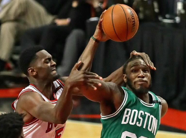 Bobby Portis of the Chicago Bulls fouls Jae Crowder of the Boston Celtics during Game Six of the Eastern Conference Quarterfinals