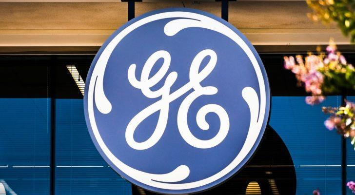 The General Electric (GE) logo on a building