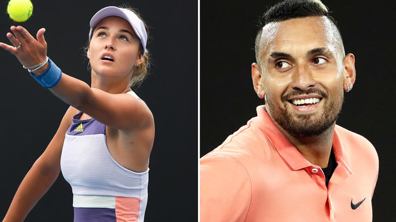 Anna Kalinskaya and Nick Kyrgios, pictured here on the tennis court.
