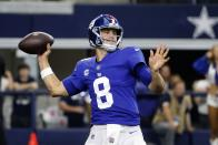 New York Giants quarterback Daniel Jones throws a pass in the first half of an NFL football game against the Dallas Cowboys in Arlington, Texas, Sunday, Oct. 10, 2021. (AP Photo/Michael Ainsworth)