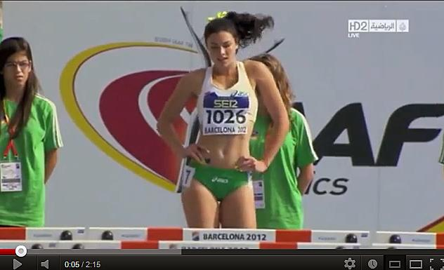 """Seen here is this <a href=""""http://sports.yahoo.com/blogs/olympics-fourth-place-medal/michelle-jenneke-australian-hurdler-dancing-sensation-042218109--oly.html"""" data-ylk=""""slk:warm-up video screen shot;outcm:mb_qualified_link;_E:mb_qualified_link;ct:story;"""" class=""""link rapid-noclick-resp yahoo-link"""">warm-up video screen shot</a> in 2012, the 19-year-old is already an online video sensation."""