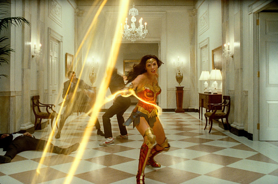 "This image released by Warner Bros. Entertainment shows Gal Gadot in a scene from ""Wonder Woman 1984."" (Warner Bros. via AP)"