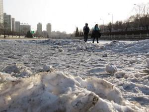 Icy ground in Beijing