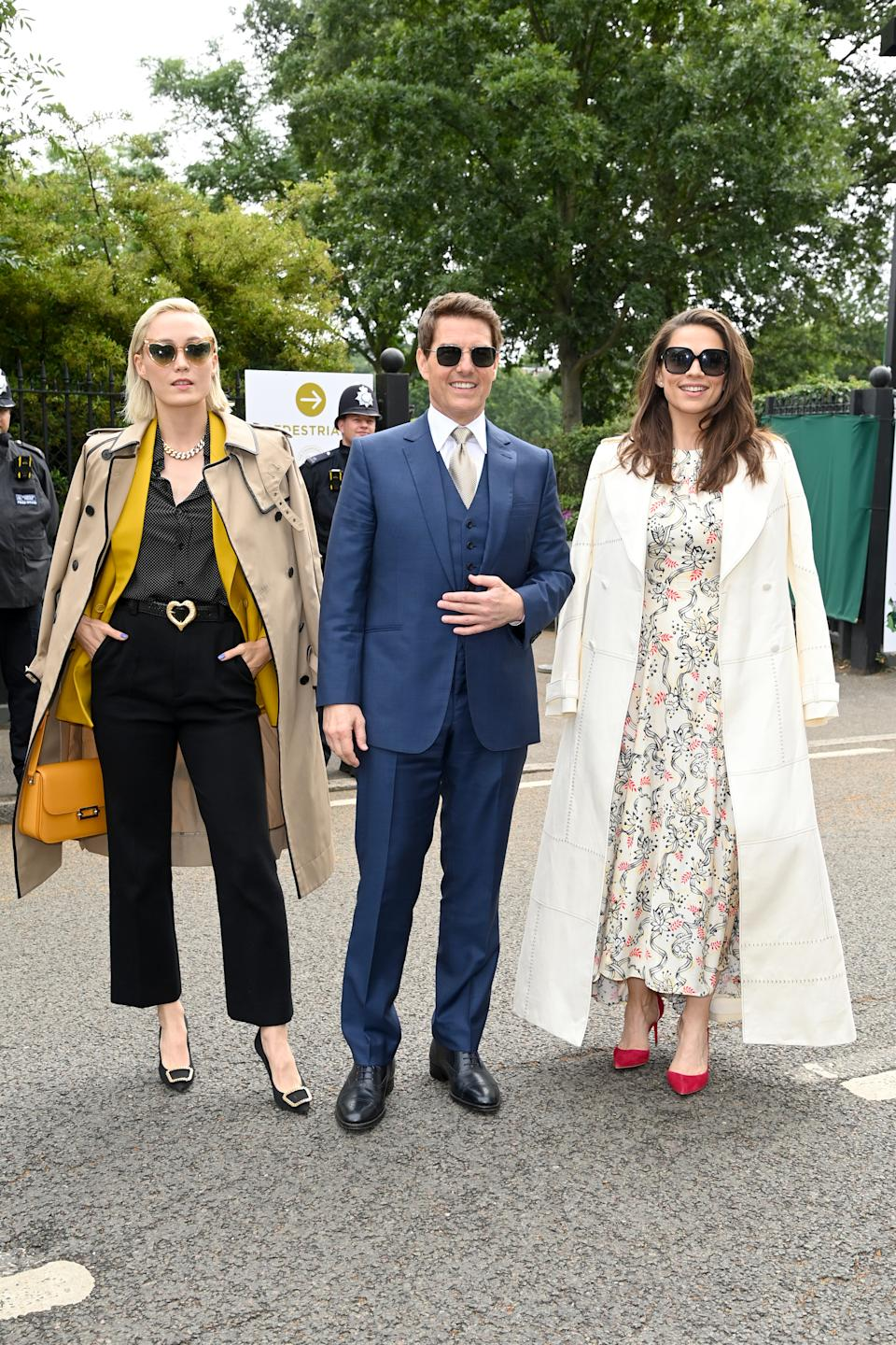 tom cruise Mission Impossible co-stars Hayley Atwell and Pom Klementieff at wimbledon