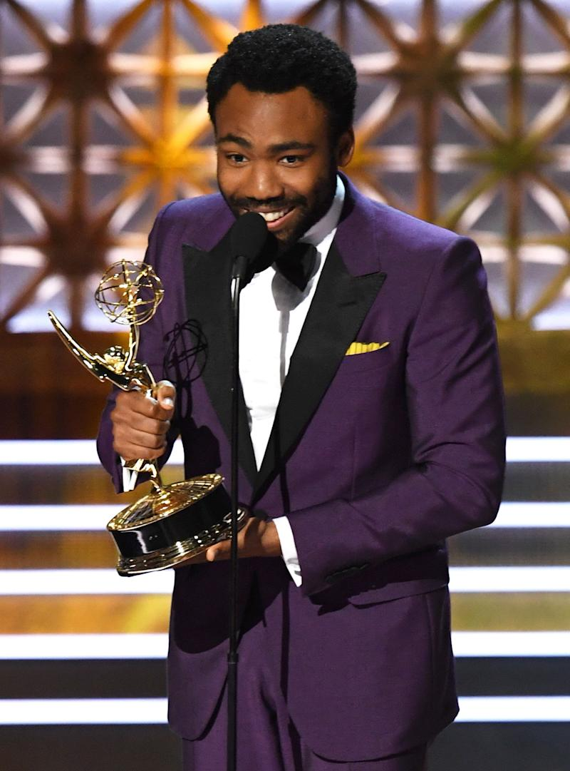 Actor/director Donald Glover accepts Outstanding Directing for a Comedy Series for 'Atlanta' (episode 'B.A.N.') onstage during the 69th Annual Primetime Emmy Awards at Microsoft Theater on Sept. 17, 2017 in Los Angeles, California.