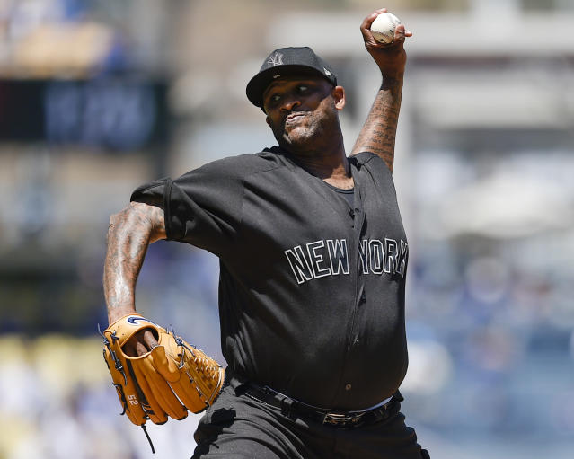 New York Yankees starting pitcher CC Sabathia delivers during the first inning of a baseball game against the Los Angeles Dodgers in Los Angeles, Saturday, Aug. 24, 2019. (AP Photo/Kelvin Kuo)