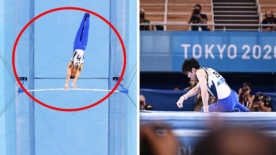 Japanese gymnast Kohei Uchimura (pictured right) devastated after falling off the high bar (pictured left) at the Tokyo Olympics.