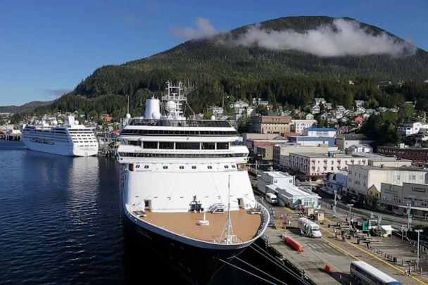 PHOTO: Cruise liners moored at Skagway in Alaska, May 26, 2010. (UIG via Getty Images, FILE)