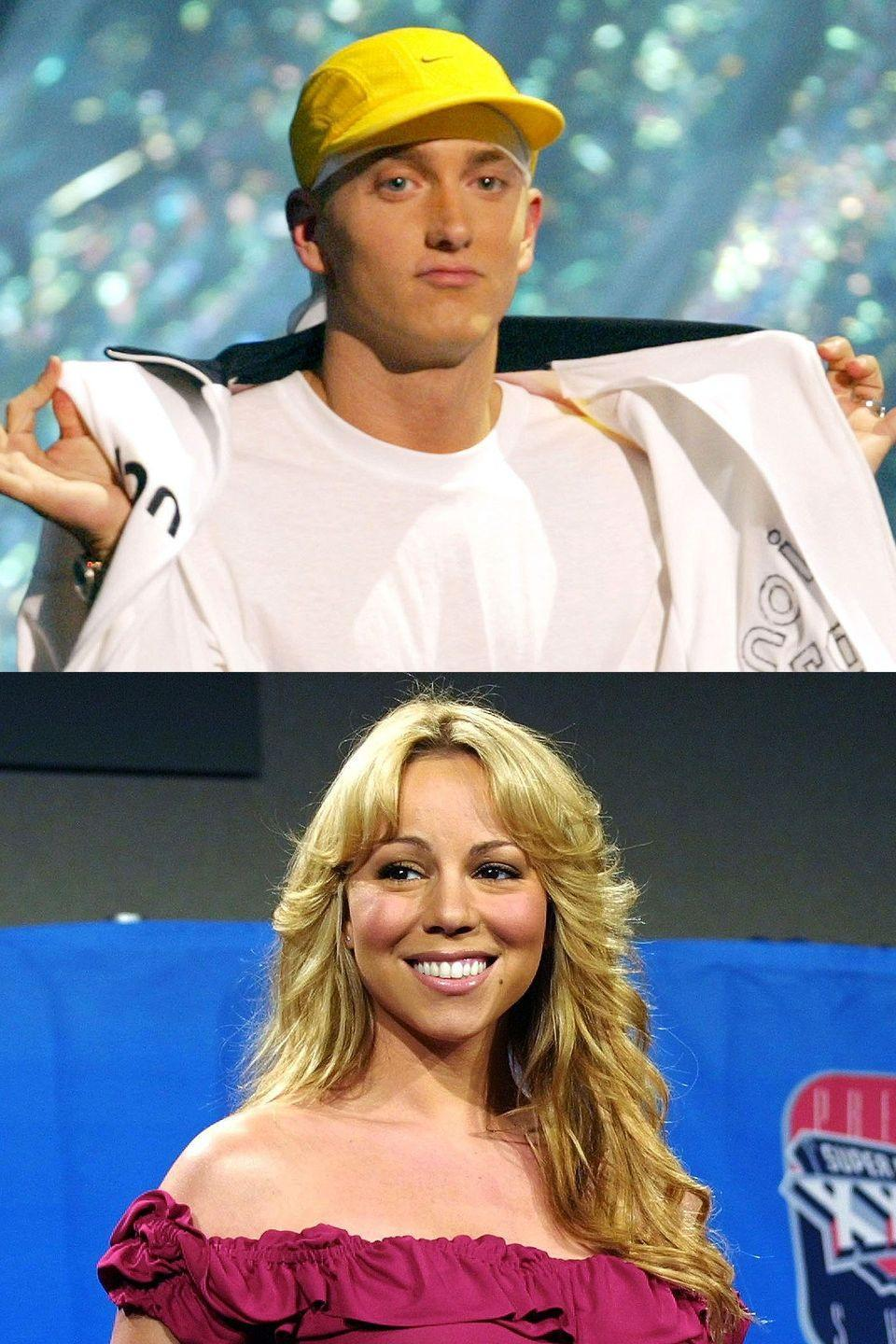 "<p>In 2001, the rapper met with Carey to talk about laying down a track together and that somehow turned into dating for a bit—at least according to him. Asked about the rumor <a href=""http://people.com/celebrity/eminem-disses-mariah-for-denying-relationship/"" rel=""nofollow noopener"" target=""_blank"" data-ylk=""slk:by Rolling Stone"" class=""link rapid-noclick-resp"">by <em>Rolling Stone</em></a>, he said, ""There's truth to that. But on the whole personal level, I'm not really feeling it. I just don't like her as a person."" He took two more shots at her on his album <em>The Eminem Show</em> that year, including implying that she flew her private jet to meet him twice, ""trying to be [his] new wife."" Mariah denied dating him—""I think I was probably with him a total of four times""—and the two have traded barbs ever since.</p>"