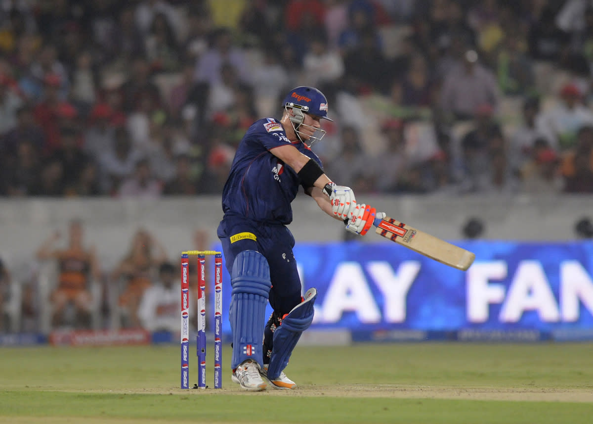 David Warner of Delhi Daredevils bats during match 48 of the Pepsi Indian Premier League between The Sunrisers Hyderabad and Delhi Daredevils held at the Rajiv Gandhi International  Stadium, Hyderabad  on the 4th May 2013..Photo by Pal Pillai-IPL-SPORTZPICS ..Use of this image is subject to the terms and conditions as outlined by the BCCI. These terms can be found by following this link:..https://ec.yimg.com/ec?url=http%3a%2f%2fwww.sportzpics.co.za%2fimage%2fI0000SoRagM2cIEc&t=1506282255&sig=0CRSbRP15uVvrqxG.UTCGw--~D