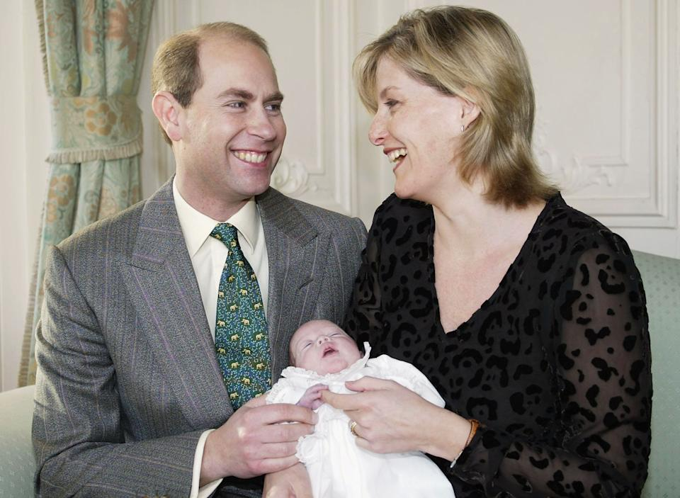 SANDRINGHAM, ENGLAND - UNDATED: (EMBARGOED: Not for publication before 0001 Saturday January 10, 2004)  This undated handout photo shows The Earl and Countess of Wessex holding their newborn daughter, Lady Louise Windsor, who was born prematurely in early November.  (Photo by HRH The Duke of York/Getty Images)