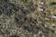 This aerial view taken on November 21 shows a cemetery where alleged victims of the November 9 massacre were buried in collective graves in Mai-Kadra