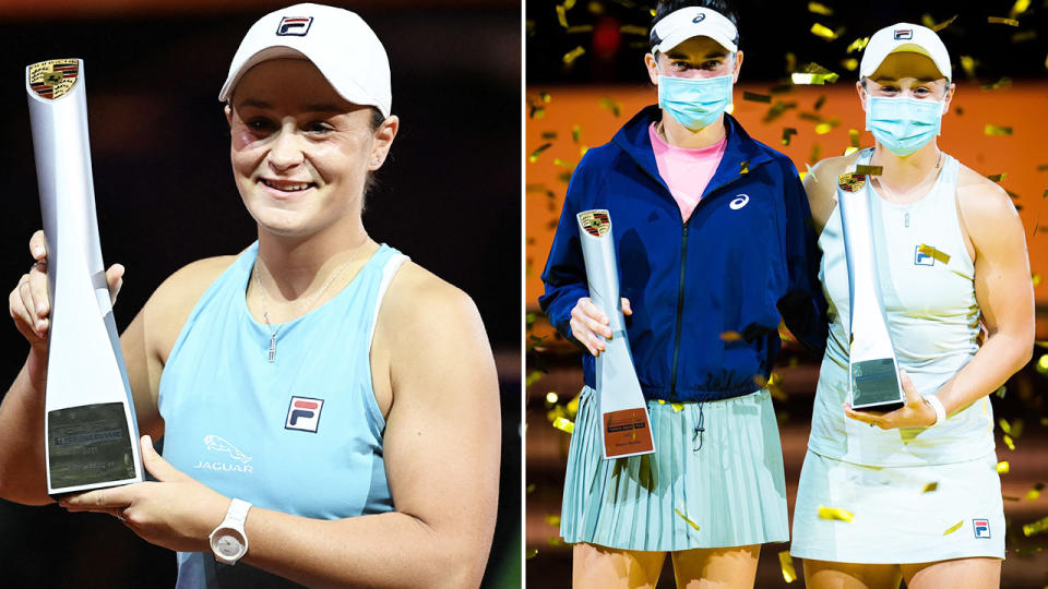 Ash Barty, pictured here after winning both the singles and doubles titles in Stuttgart.