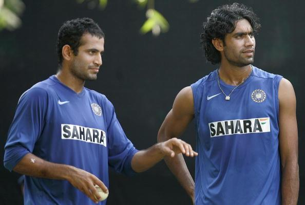 Indian cricketers Irfan Pathan (L) and M