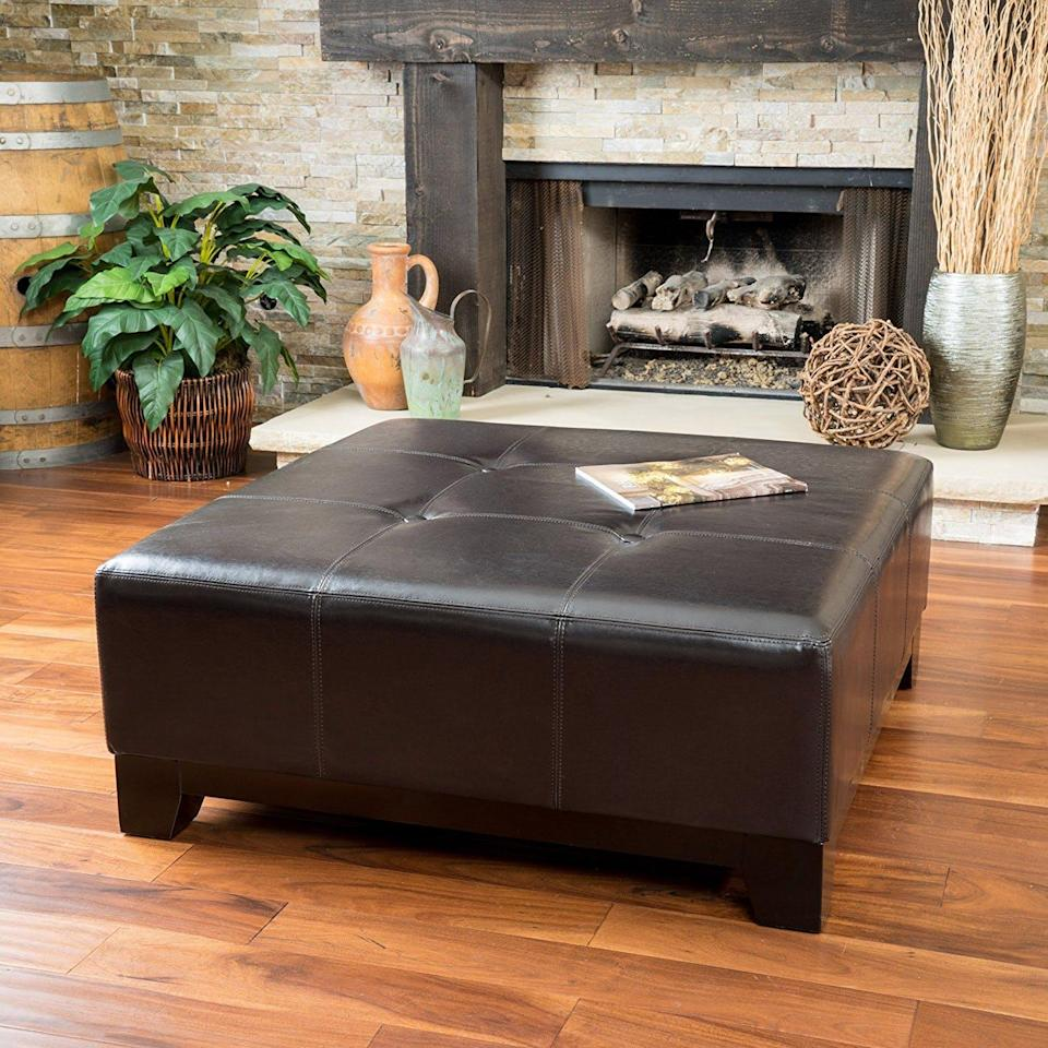 Great Deal Furniture Avalon Leather Ottoman Coffee Table