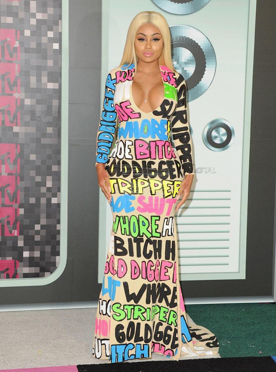 """<p>Model Blac Chyna appeared at the VMAs in 2015 wearing a dress emblazoned with words like """"whore"""" and """"gold digger."""" Fellow model Amber Rose wore a matching suit. Blac Chyna explained in a <a href=""""https://www.washingtonpost.com/news/arts-and-entertainment/wp/2015/08/30/the-story-behind-amber-rose-and-blac-chynas-slut-dresses-at-the-vmas/"""" rel=""""nofollow noopener"""" target=""""_blank"""" data-ylk=""""slk:red carpet interview"""" class=""""link rapid-noclick-resp"""">red carpet interview</a>, """"[We] basically wanted to paint a picture of what everybody, kind of like, already says about us.""""</p>"""
