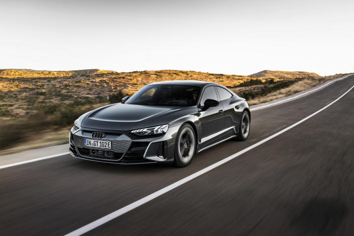 This photo provided by Audi shows the Audi e-tron GT, a new electric sport sedan. It shares a common platform with the Porsche Taycan, so we expect great things from this sleek four-door. (Courtesy of Audi AG via AP)