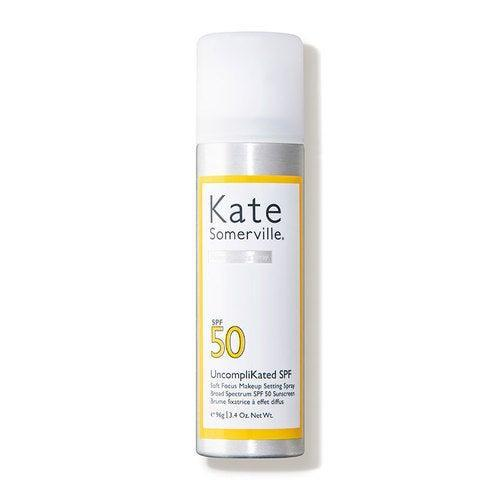 """<h2>Kate Somerville UncompliKated SPF 50 Soft Focus Makeup Setting Spray <br></h2><br>If you love a soft-focus finish, this SPF 50 setting spray is for you: It blurs and softens the appearance of skin with a fine mist that won't disrupt your foundation.<br><br><strong>Kate Somerville</strong> UncompliKated SPF Soft Focus Makeup Setting Spray, $, available at <a href=""""https://go.skimresources.com/?id=30283X879131&url=https%3A%2F%2Fwww.dermstore.com%2Fproduct_UncompliKated%2BSPF%2BSoft%2BFocus%2BMakeup%2BSetting%2BSpray%2BBroad%2BSpectrum%2BSPF%2B50%2BSunscreen_85367.htm%3F"""" rel=""""nofollow noopener"""" target=""""_blank"""" data-ylk=""""slk:DermStore"""" class=""""link rapid-noclick-resp"""">DermStore</a>"""