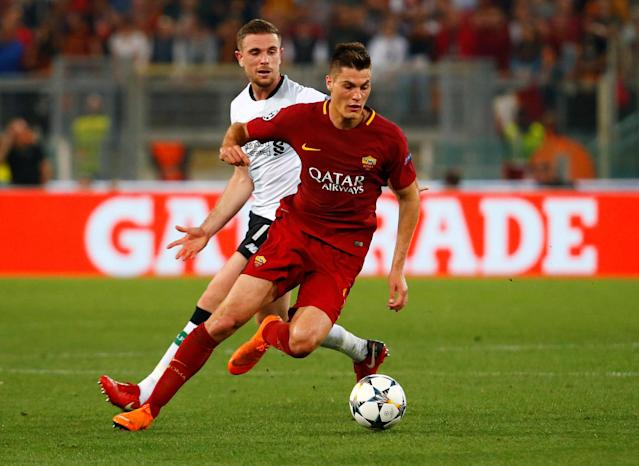 Soccer Football - Champions League Semi Final Second Leg - AS Roma v Liverpool - Stadio Olimpico, Rome, Italy - May 2, 2018 Roma's Patrik Schick in action with Liverpool's Jordan Henderson REUTERS/Tony Gentile