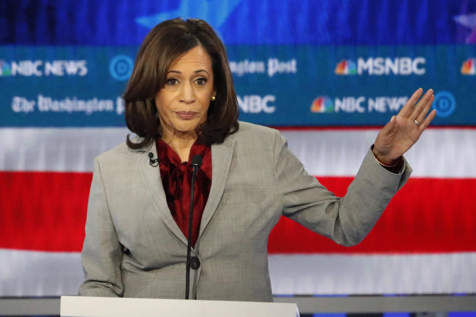 Democratic presidential candidate Sen. Kamala Harris, D-Calif., speaks during a Democratic presidential primary debate in Atlanta. (AP Photo/John Bazemore)