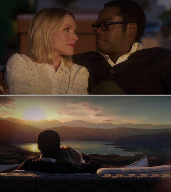 Eleanor and Chidi from The Good Place sitting outside, watching the sunset together