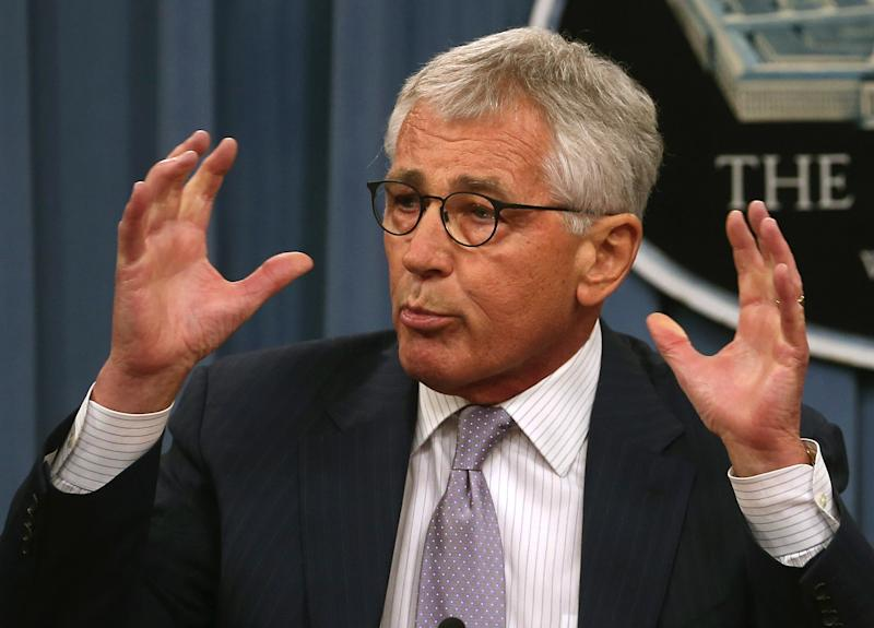 US Secretary of Defense Chuck Hagel speaks to the media during a press briefing at the Pentagon, in Arlington, Virginia, on August 21, 2014 (AFP Photo/Mark Wilson)
