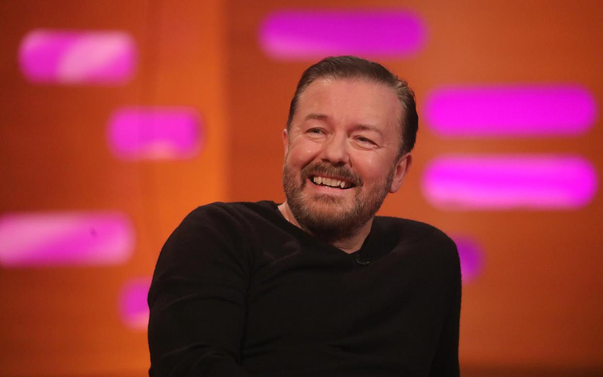 Ricky Gervais during the filming for the Graham Norton Show at BBC Studioworks 6 Television Centre, Wood Lane, London, to be aired on BBC One on Friday evening. (Photo by Isabel Infantes/PA Images via Getty Images)
