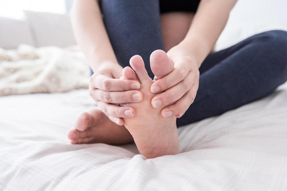"""Human feet contain 52 bones (26 for each foot). That's nearly a quarter of all the bones in your whole body! Each also contains 33 joints and more than 100 muscles, tendons, and ligaments. Are your dogs barking? <a href=""""https://bestlifeonline.com/why-does-my-foot-hurt/?utm_source=yahoo-news&utm_medium=feed&utm_campaign=yahoo-feed"""" rel=""""nofollow noopener"""" target=""""_blank"""" data-ylk=""""slk:This Is What Those Aching Feet Really Mean"""" class=""""link rapid-noclick-resp"""">This Is What Those Aching Feet Really Mean</a>."""