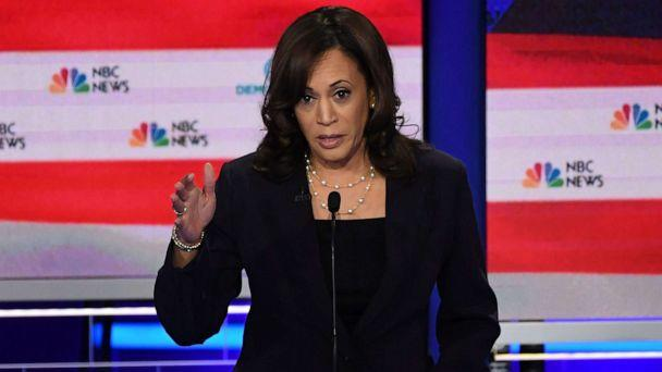 PHOTO: Kamala Harris participates in the second night of the first 2020 democratic presidential debate at the Adrienne Arsht Center for the Performing Arts in Miami, June 27, 2019. (Saul Loeb/AFP/Getty Images)