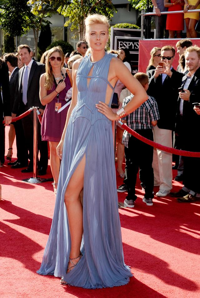 LOS ANGELES, CA - JULY 11: Maria Sharapova arrives at the 2012 ESPY Awards at Nokia Theatre L.A. Live on July 11, 2012 in Los Angeles, California. (Photo by Gregg DeGuire/WireImage)